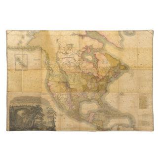 Mapa de Norteamérica de Henry Schenck Tanner 1822 Mantel Individual