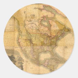 Mapa de Norteamérica de Henry Schenck Tanner 1822 Pegatina Redonda
