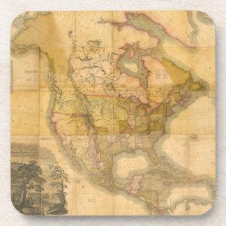 Mapa de Norteamérica de Henry Schenck Tanner 1822 Posavasos De Bebida
