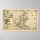 Mapa de Norteamérica del Moll 1715 de Herman Impresiones