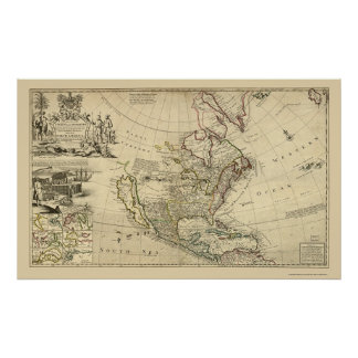 Mapa de Norteamérica del Moll 1715 de Herman Póster