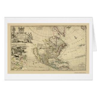 Mapa de Norteamérica del Moll 1715 de Herman Tarjeta De Felicitación
