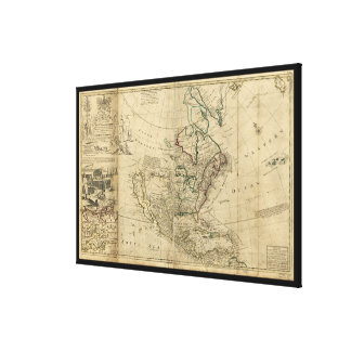 Mapa de Norteamérica del Moll de Herman (1715) Lienzo Envuelto Para Galerias