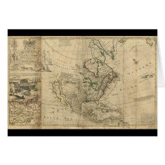 Mapa de Norteamérica del Moll de Herman (1715) Tarjeta De Felicitación