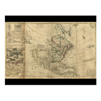 Mapa de Norteamérica del Moll de Herman (1715) Tarjetas Postales