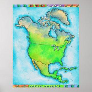 Mapa de Norteamérica Impresiones