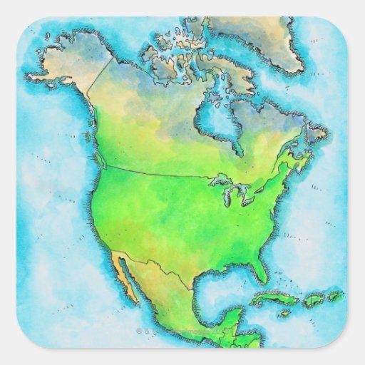 Mapa de Norteamérica Calcomania Cuadradas Personalizada