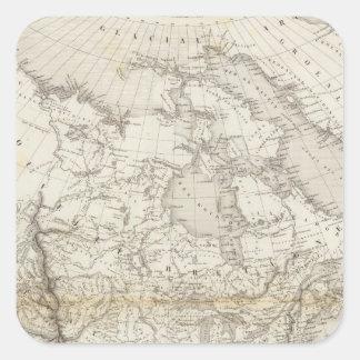 Mapa de Norteamérica Pegatina Cuadrada