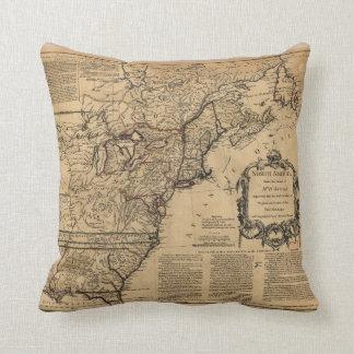Mapa de Norteamérica por Jefferys y Anville (1755) Cojín
