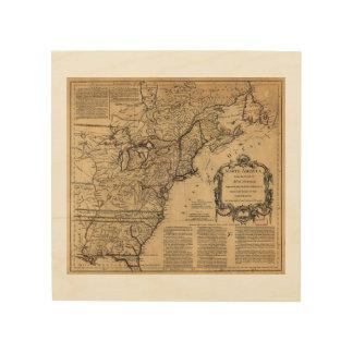 Mapa de Norteamérica por Jefferys y Anville (1755) Impresión En Madera