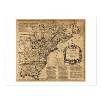 Mapa de Norteamérica por Jefferys y Anville (1755) Tarjeta Postal