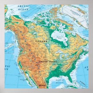 Mapa de Norteamérica Póster