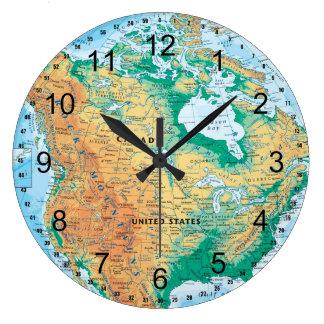 Mapa de Norteamérica Reloj