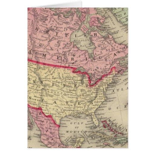Mapa de Norteamérica Tarjeta De Felicitación