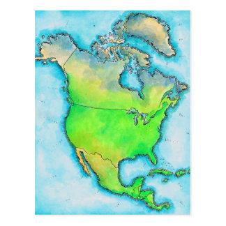 Mapa de Norteamérica Tarjeta Postal