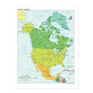 Mapa de Norteamérica Tarjetas Postales