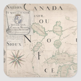 Mapa de Nouvelle-Francia 1699 Pegatina Cuadrada