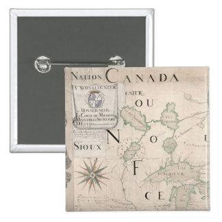 Mapa de Nouvelle-Francia 1699 Pin Cuadrado