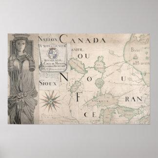 Mapa de Nouvelle-Francia 1699 Póster