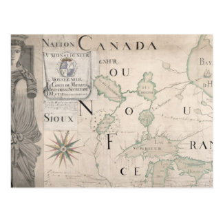 Mapa de Nouvelle-Francia 1699 Tarjeta Postal