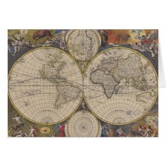 Mapa de Novissima Totius Terrarum Orbis Tabula Tarjeta De Felicitación