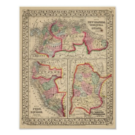 Mapa de nueva Granada, Venezuela, Guayana de Mitch Posters