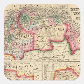 Mapa de nueva Granada, Venezuela, Guayana de Pegatina Cuadrada