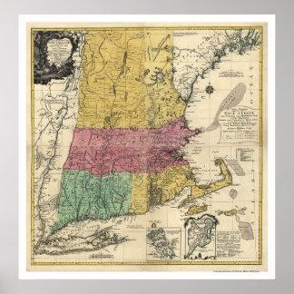 Mapa de Nueva Inglaterra - 1777 Póster