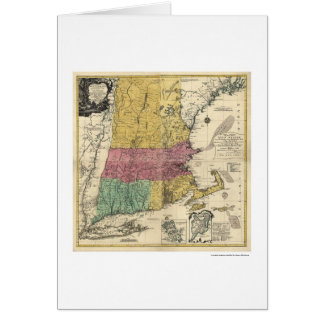Mapa de Nueva Inglaterra - 1777 Tarjeta De Felicitación