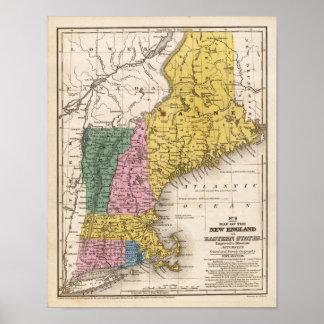 Mapa de Nueva Inglaterra o de los estados del este Póster