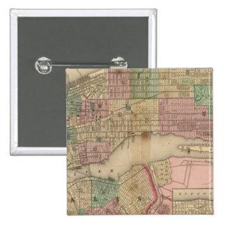 Mapa de Nueva York, Brooklyn de Mitchell Pin Cuadrada 5 Cm