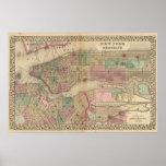 Mapa de Nueva York, Brooklyn de Mitchell Póster