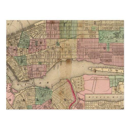 Mapa de Nueva York, Brooklyn de Mitchell Tarjeta Postal