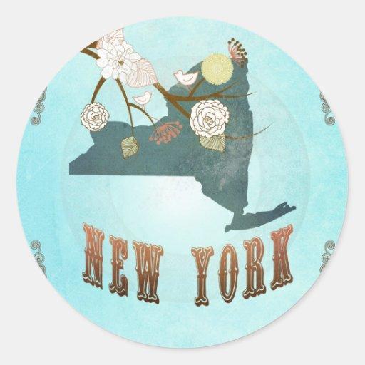 Mapa de Nueva York con los pájaros preciosos Pegatina Redonda