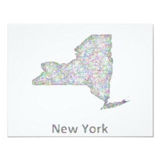 """Mapa de Nueva York Invitación 4.25"""" X 5.5"""""""