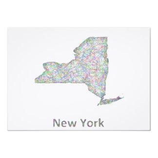 """Mapa de Nueva York Invitación 4.5"""" X 6.25"""""""