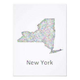 """Mapa de Nueva York Invitación 5.5"""" X 7.5"""""""