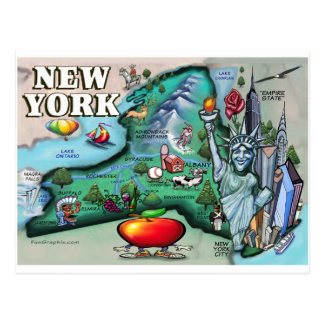 Mapa de Nueva York Tarjetas Postales