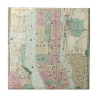 Mapa de Nueva York y de la vecindad Azulejo Cuadrado Pequeño