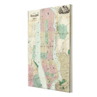 Mapa de Nueva York y de la vecindad Lienzo Envuelto Para Galerias