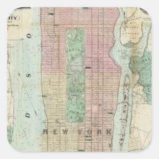 Mapa de Nueva York y de la vecindad Calcomanía Cuadradas Personalizadas