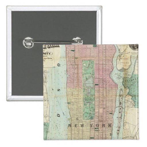 Mapa de Nueva York y de la vecindad Pin Cuadrada 5 Cm