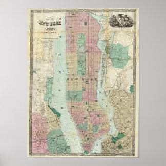 Mapa de Nueva York y de la vecindad Póster