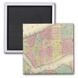 Mapa de Nueva York y de las ciudades adyacentes Imán Cuadrado