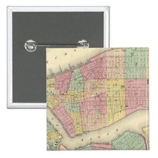 Mapa de Nueva York y de las ciudades adyacentes Pin Cuadrada 5 Cm