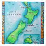 Mapa de Nueva Zelanda 2 Azulejo Cuadrado Grande