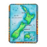 Mapa de Nueva Zelanda 2 Iman De Vinilo