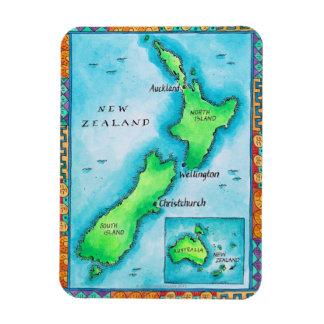 Mapa de Nueva Zelanda 2 Imán Rectangular