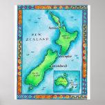 Mapa de Nueva Zelanda 2 Impresiones