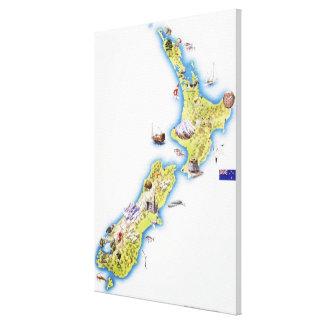 Mapa de Nueva Zelanda 2 Lona Estirada Galerías